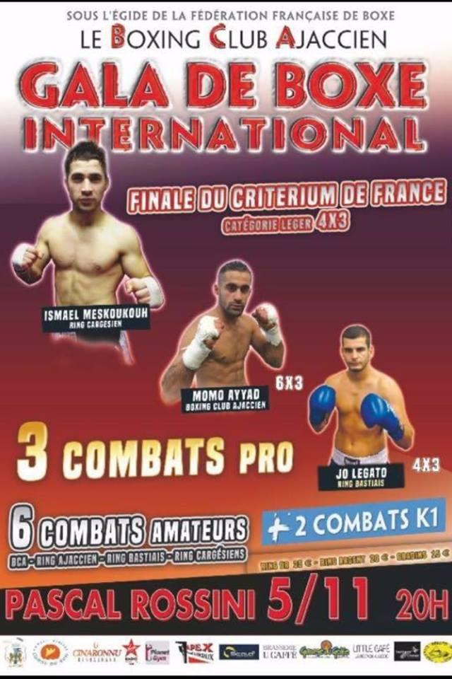 Boxe Anglaise Pro international samedi 5 novembre complexe Pascal Rossini