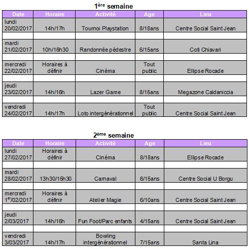 Programme des vacances de Février dans les centres sociaux