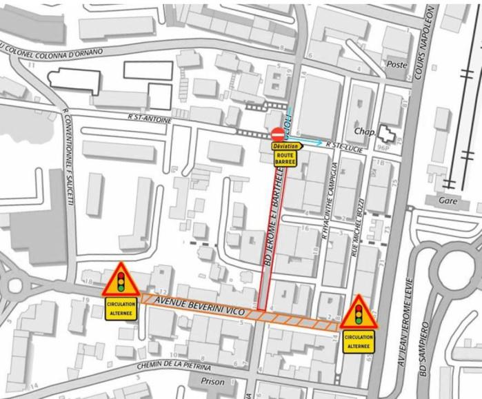 Lundi 7 et mardi 8 août - Restrictions de circulation avenue Beverini Vico et boulevard Maglioli