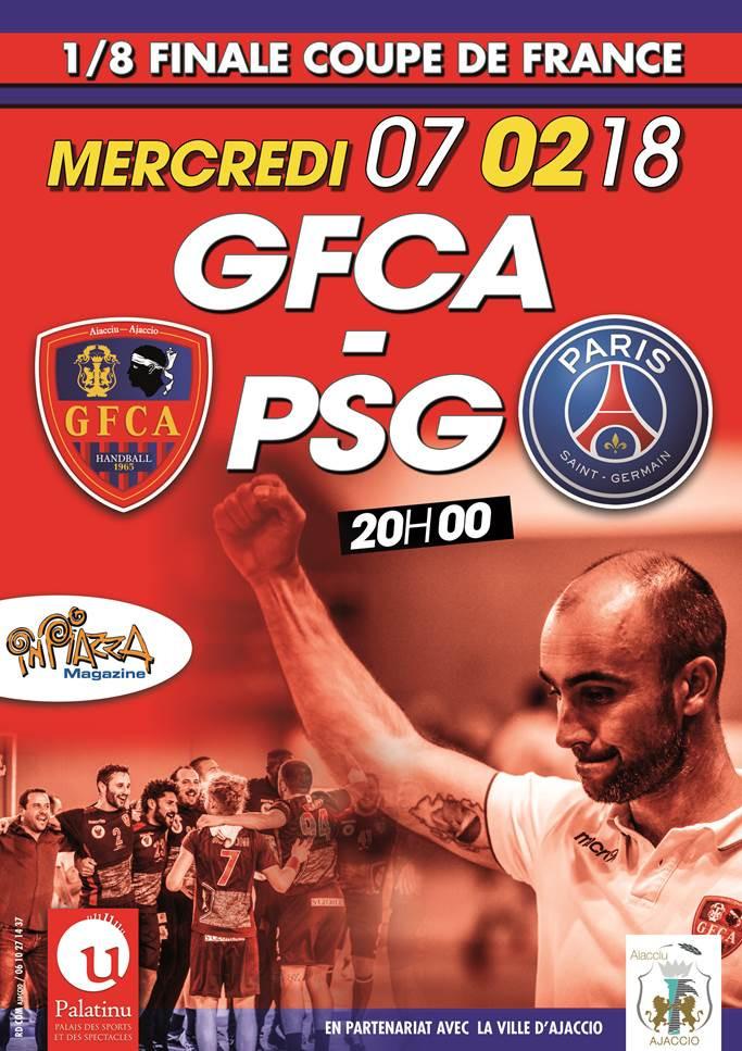 Handball GFC Ajaccio / PSG : 8 ème de finale de coupe de France au Palatinu