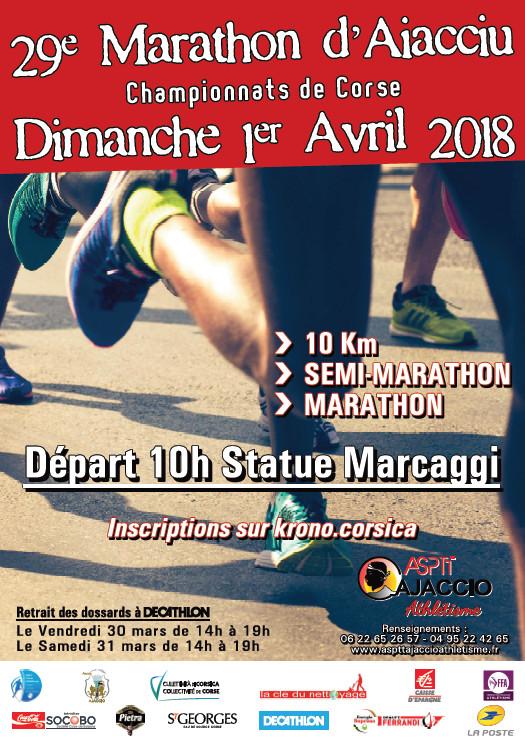 Marathon d'Ajaccio - Championnats de Corse dimanche 1er avril