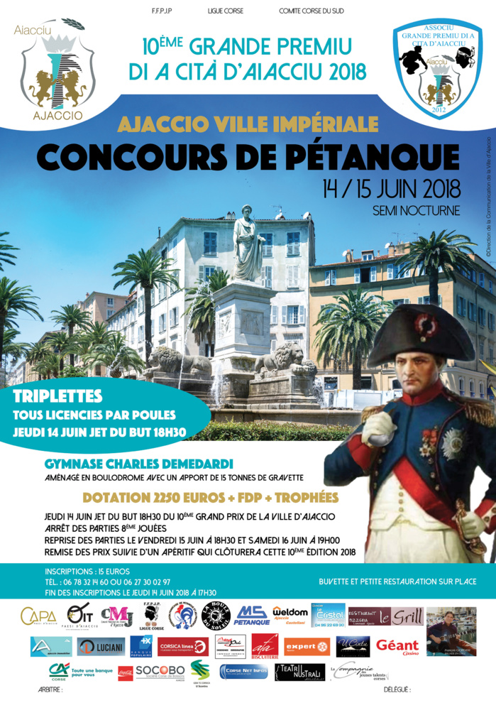 « Grand Prix de Pétanque de la Ville d'Ajaccio » du 14 au 17 juin Gymnase Charles Demedardi