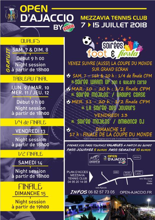 Open Vito d'Ajaccio 2018 du 7 au 15 juillet sur les courts du Mezzavia Tennis Club