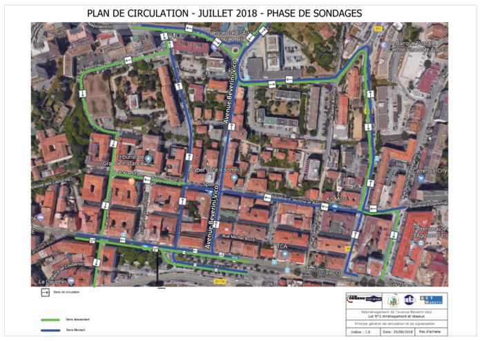 Plan de circulation pour le mois de juillet de l'avenue Beverini-Vico