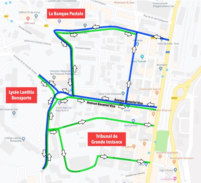 Avenue Beverini Vico plan de circulation pour le mois d'août