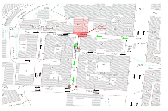 Travaux : Modification de la circulation dans les rues Lorenzo Vero et Major Lambroschini à compter du 6 août