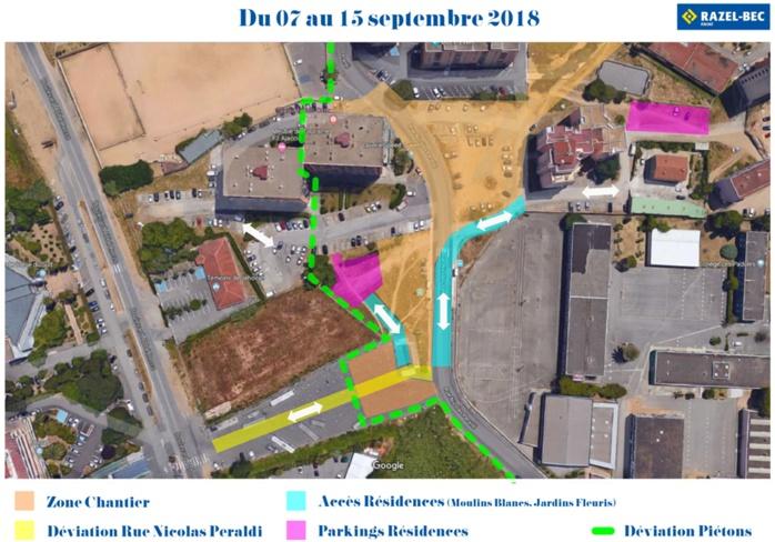 Travaux PRU Rue Nicolas Peraldi Info circulation mise à jour au 7 septembre 2018