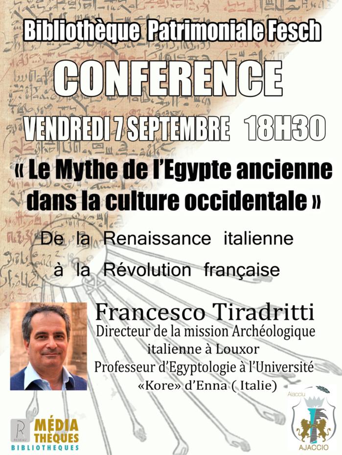 Egypte ancienne : conférence le 7 septembre à la bibliothèque Fesch