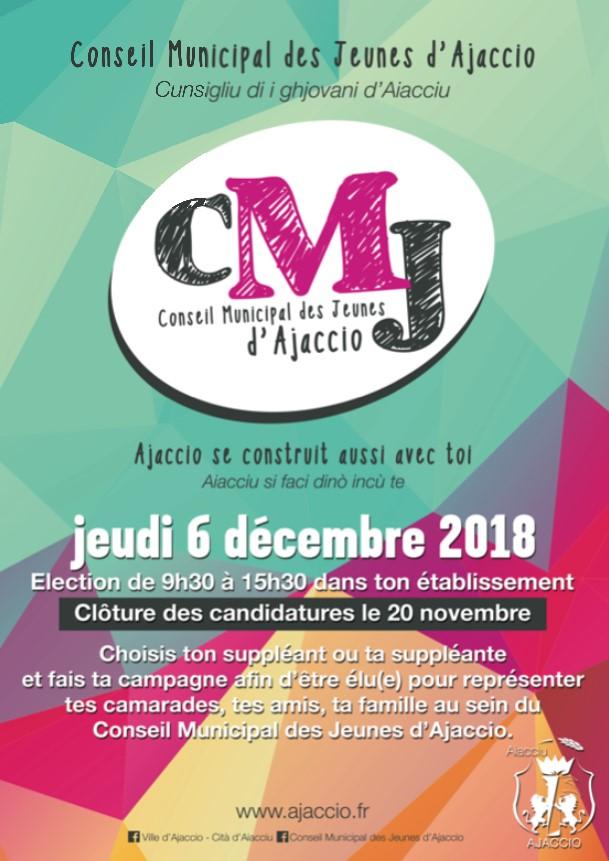 Candidatures 18/25 ans pour l'élection du Conseil Municipal des Jeunes d'Ajaccio