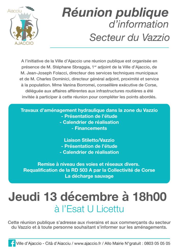Réunion publique secteur Vazzio jeudi 13 décembre 18h à l'Esat U Licettu