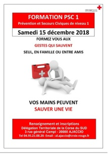 Croix-Rouge Ajaccio formation aux gestes de premier secours PSC1-15 DÉCEMBRE 2018