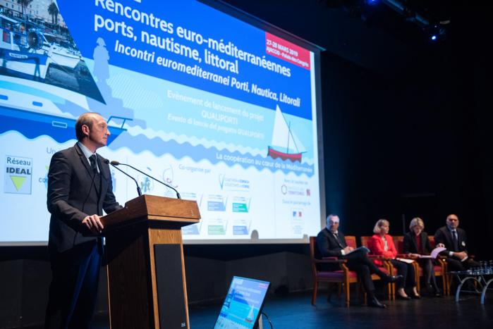 """""""Le projet Qualiporti constitue un enjeu majeur pour notre collectivité et ses partenaires transfrontaliers"""", a déclaré Laurent Marcangeli en préambule des rencontres  euro-méditerranéennes qui se déroulent aujourd'hui et demain au palais des congrès d'Ajaccio (Photo Ville d'Ajaccio)."""