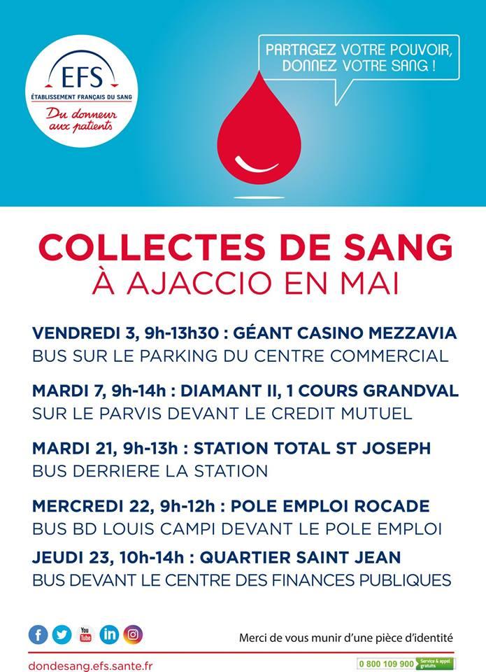 Collectes de sang du mois de mai 2019