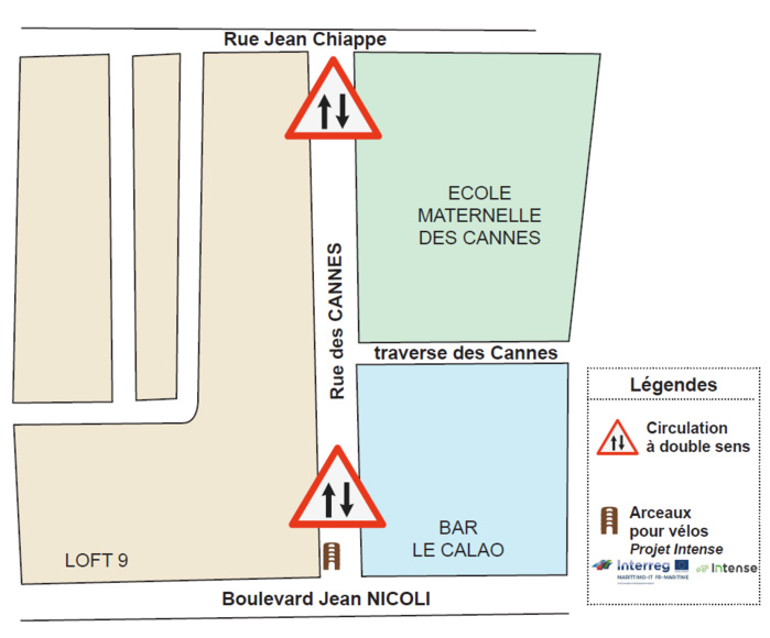 Ouverture de la rue des Cannes en double sens
