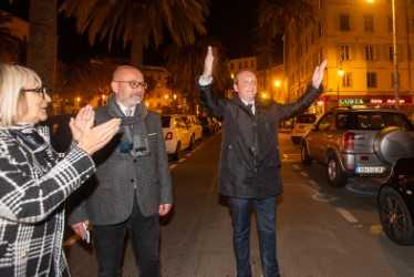 Laurent Marcangeli à son arrivée à l'Hôtel de Ville ce dimanche soir.