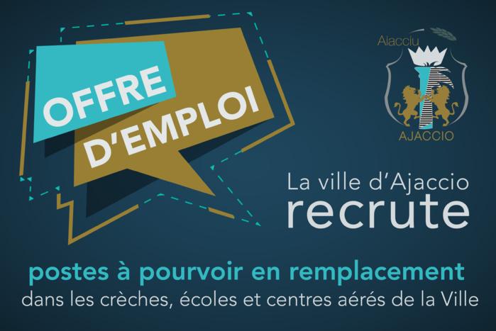 La Ville d'Ajaccio recrute (crèches, écoles et centres aérés)