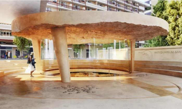 La couverture de l'antiquarium est en partie constituée de terre issue des fouilles (image de projection Orma Architettura-CGZ).