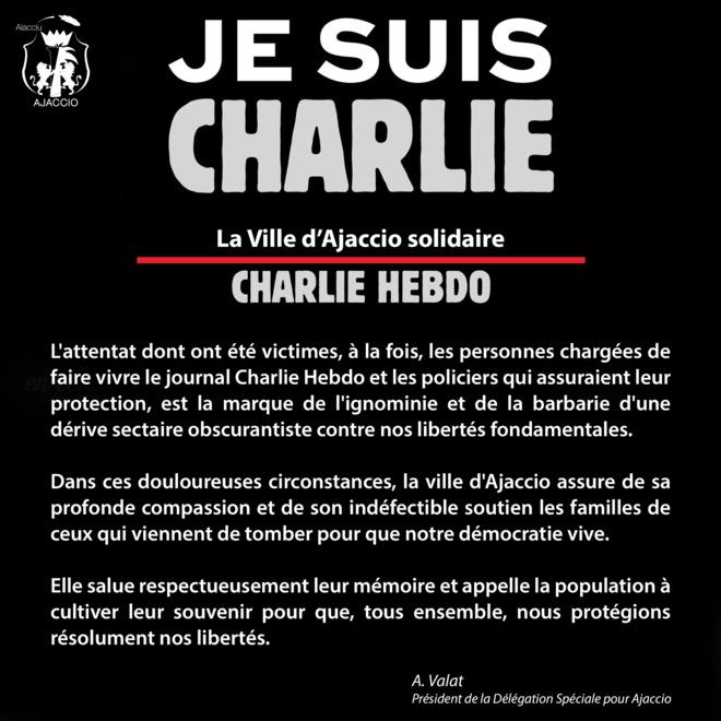 La Ville d'Ajaccio Soutient le Charlie Hebdo