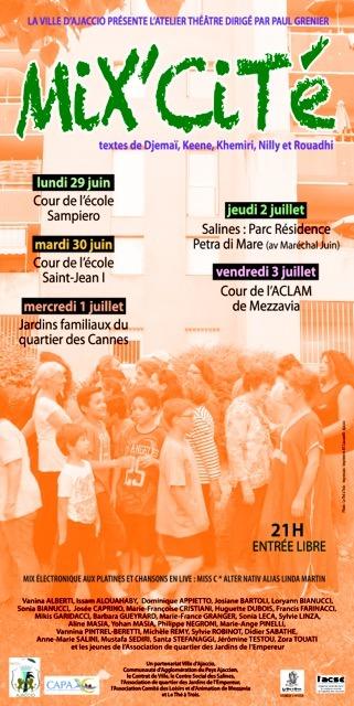 """Du 29 juin au 3 juillet Mix Cité """"Théâtre dans les Quartiers"""""""