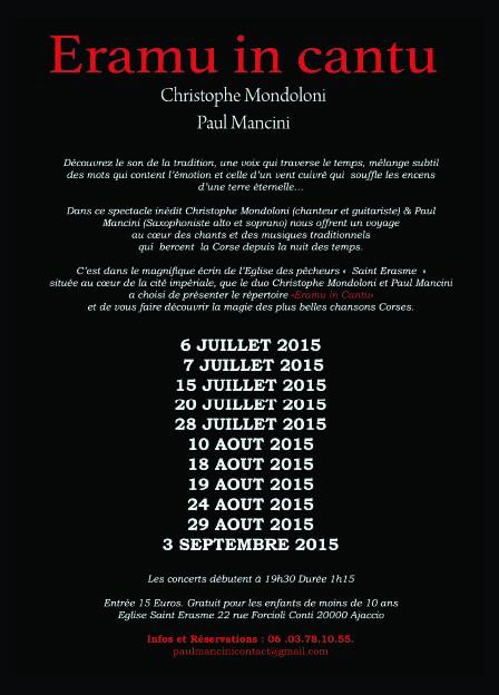 "Du 6 juillet au 3 septembre Concert ""Eramu in Cantu"" Eglise Saint Erasme"
