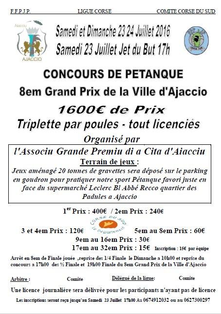 Grand Prix de la Ville d'Ajaccio 23 / 24 Juillet 2016