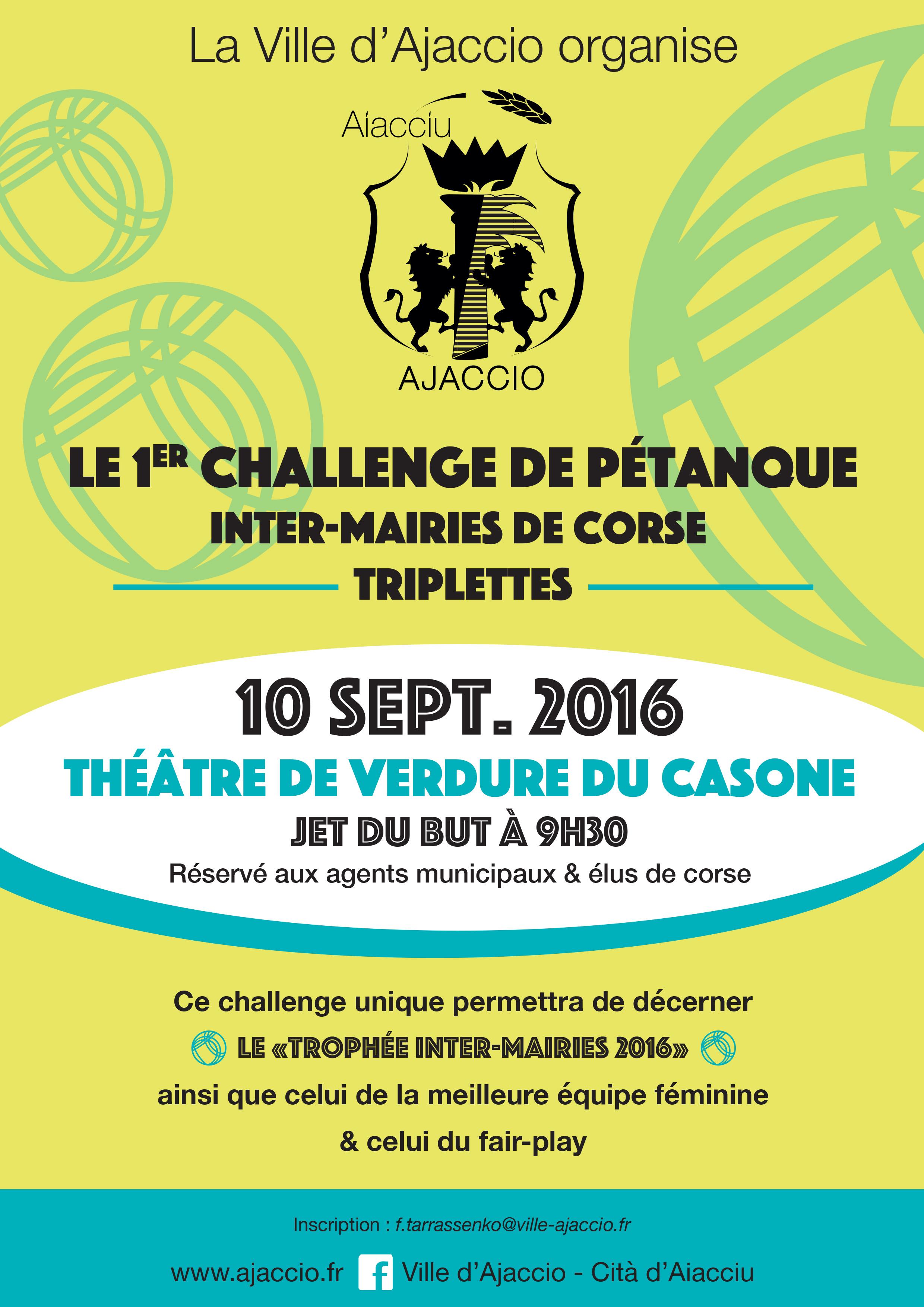 1er Challenge Inter-mairies de Corse de Pétanque le 10 septembre