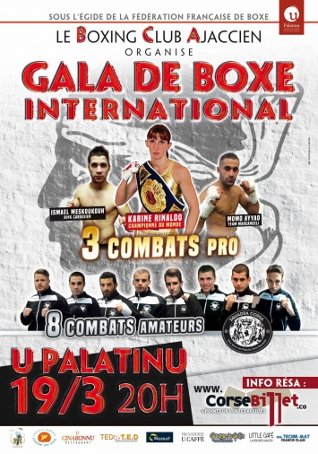 Samedi 19 mars 20h Gala de Boxe International au Palatinu
