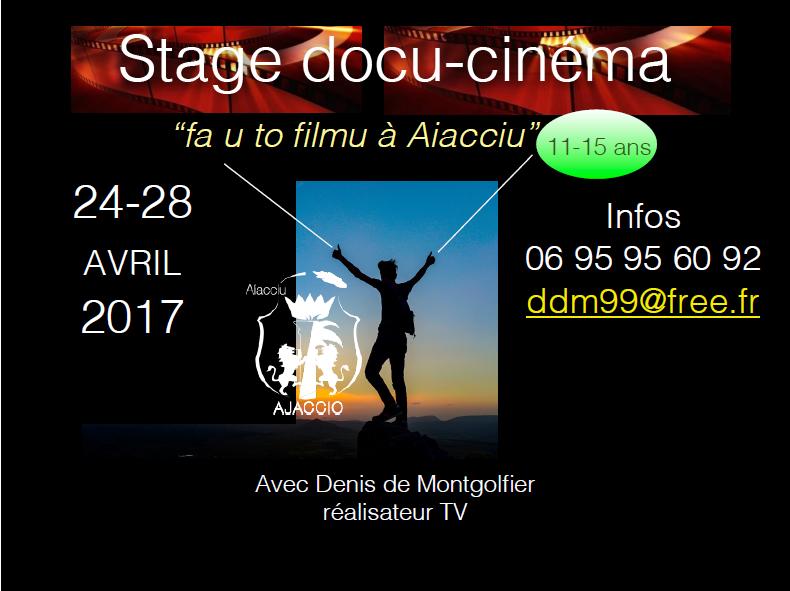 Stage docu-cinéma à Ajaccio, 12-15 ans / 24-28 AVRIL 2017