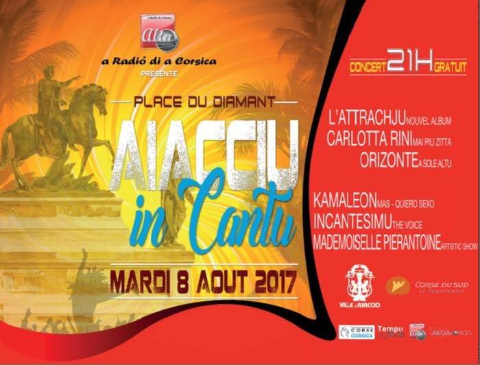 Aiacciu in Cantu mardi 8 août 21h place du diamant