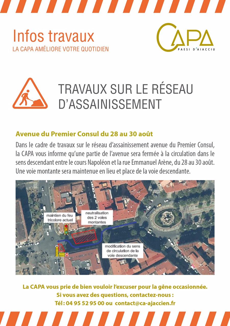 Infos Travaux avenue du 1er Consul du 28 au 30 août 2017