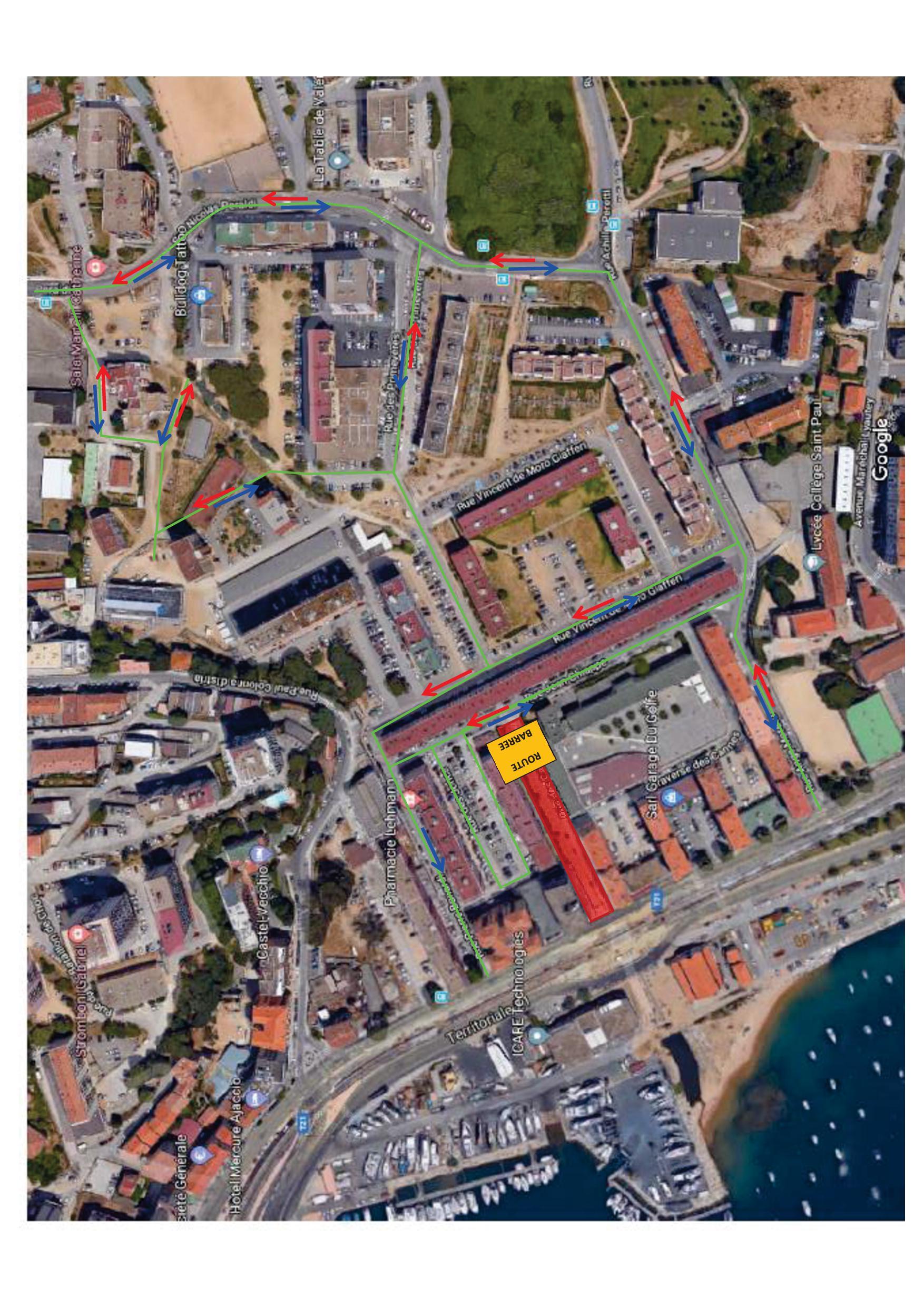 """Plan de Circulation temporaire aux Cannes - Décembre 2018 - """"Travaux de requalification Cannes-Salines"""""""