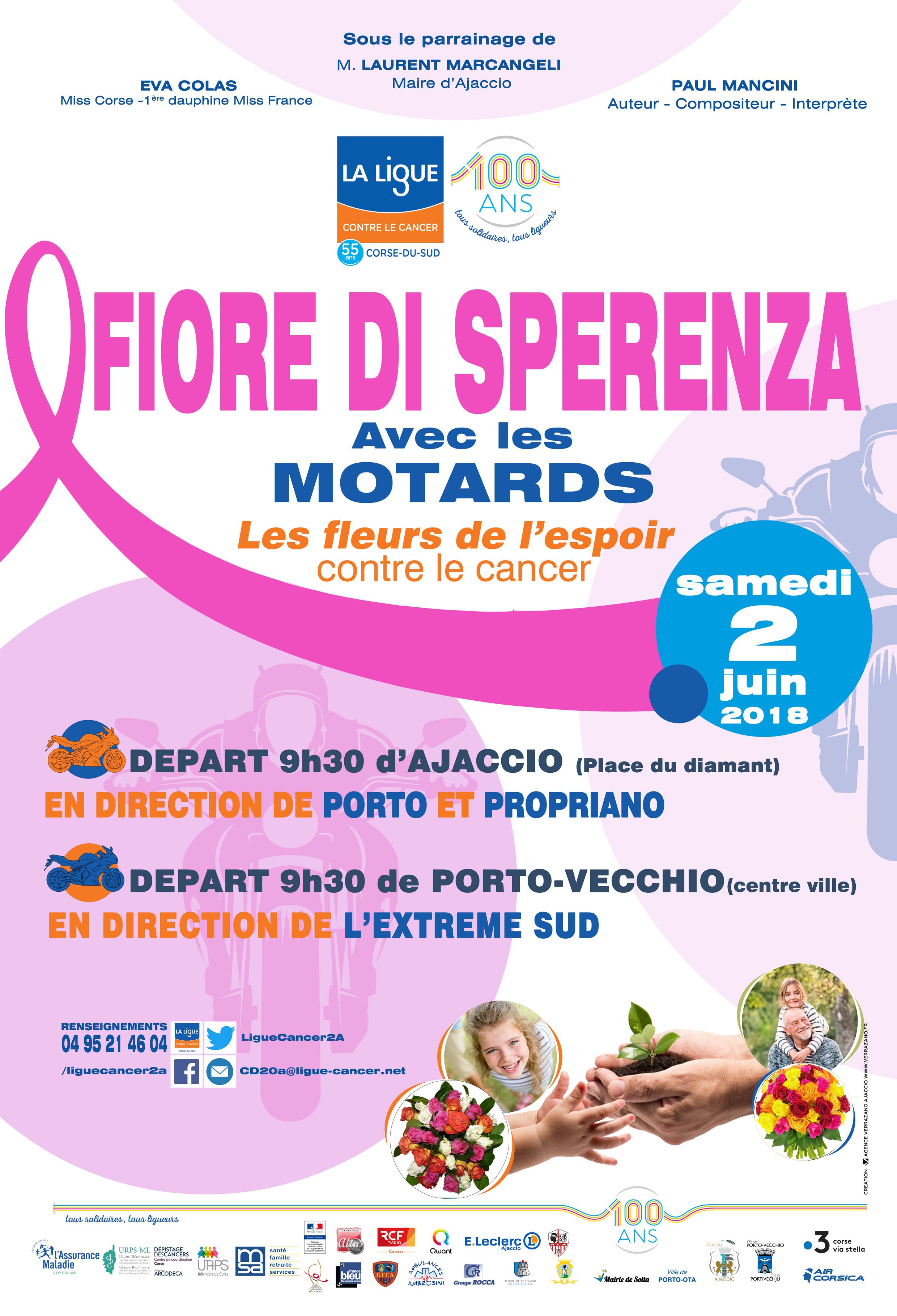 """Manifestation solidaire : Fiore di speranza avec la ligue contre le cancer et les motards""""une fleur d'espérance contre le cancer Samedi 2 juin"""