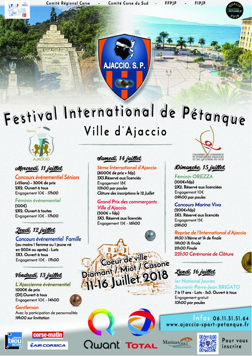 Inscriptions pour le Festival International de pétanque d'Ajaccio 11 au 16 juillet place du Diamant