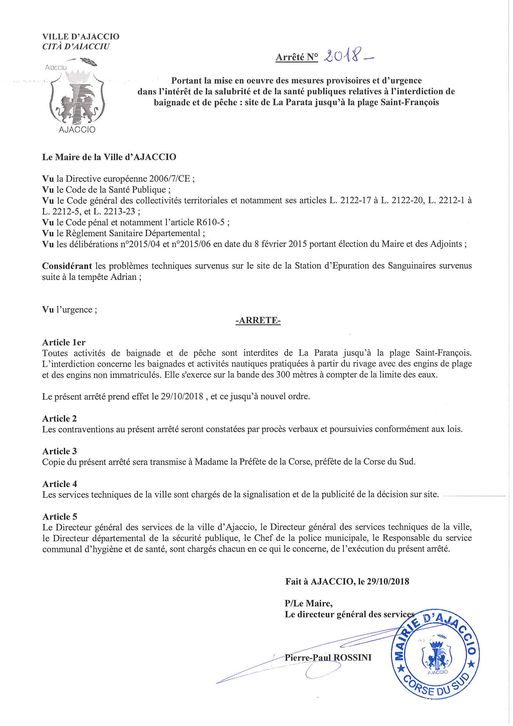 Interdiction de baignade et de pêche : site de la Parata jusqu'à la plage Saint François