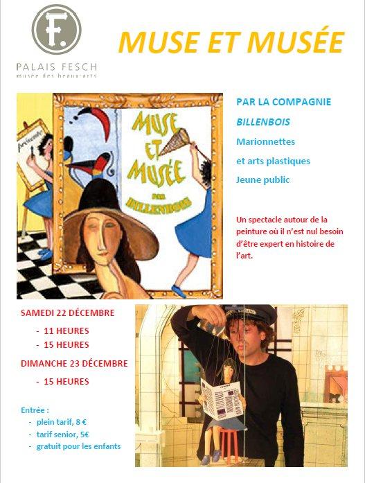 Spectacle de marionnettes par la compagnie Billenbois : Muse et musée 22 & 23 décembre au Palais Fesch
