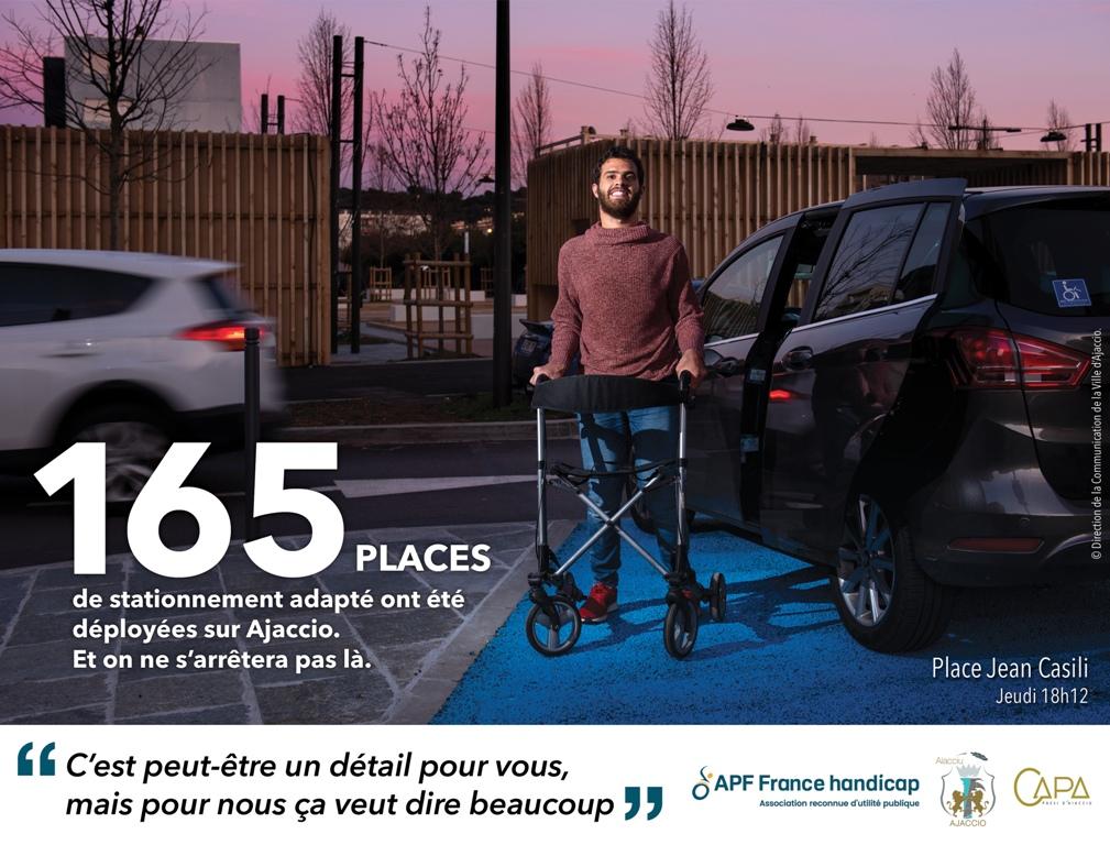 165 places de stationnement adapté ont été déployées à Ajaccio et on ne s'arrêtera pas là