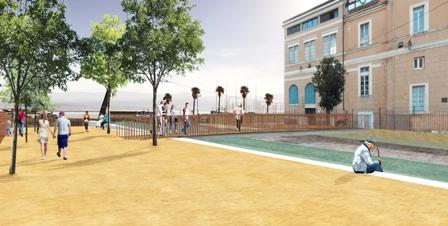 Projection de l'intégration des quais dans le projet de la place Campinchi (document SPL Ametarra)..