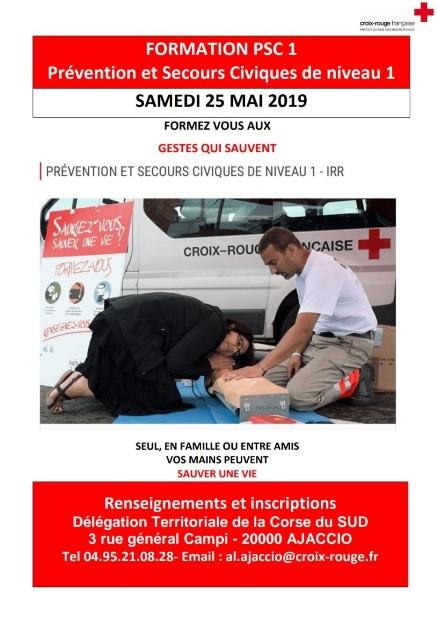 Croix-Rouge Ajaccio formation aux gestes de premier secours PSC1-25 mai 2019