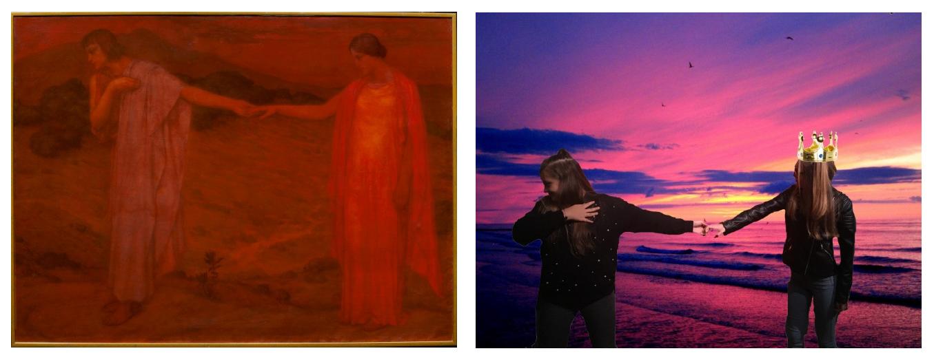 Selfie inspiré d'après oeuvre du musée par les élèves de l'Erea.