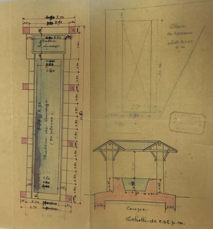 Plan du lavoir en 1927  ©archives départementales de la Corse du sud.
