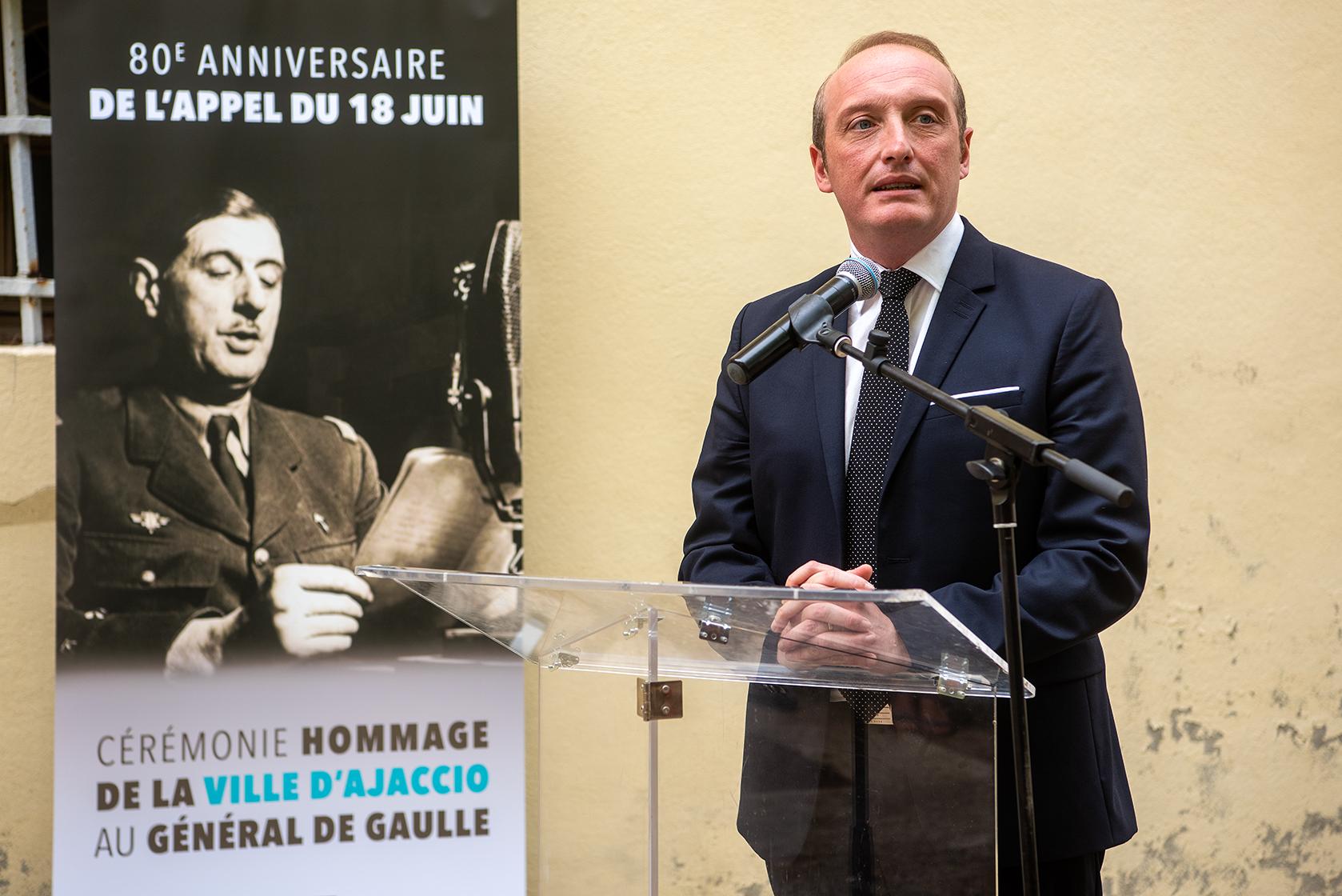 """""""Soyons digne de cet héritage"""" a déclaré Laurent Marcangeli ce jeudi 18 juin à l'occasion des 80 ans de l'Appel du général De Gaulle (Photos Ville d'Ajaccio)."""