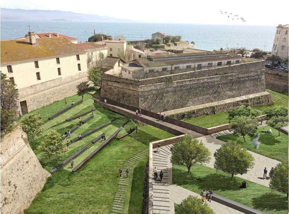 Projection d'accès à la citadelle (doc. SPL Ametarra).