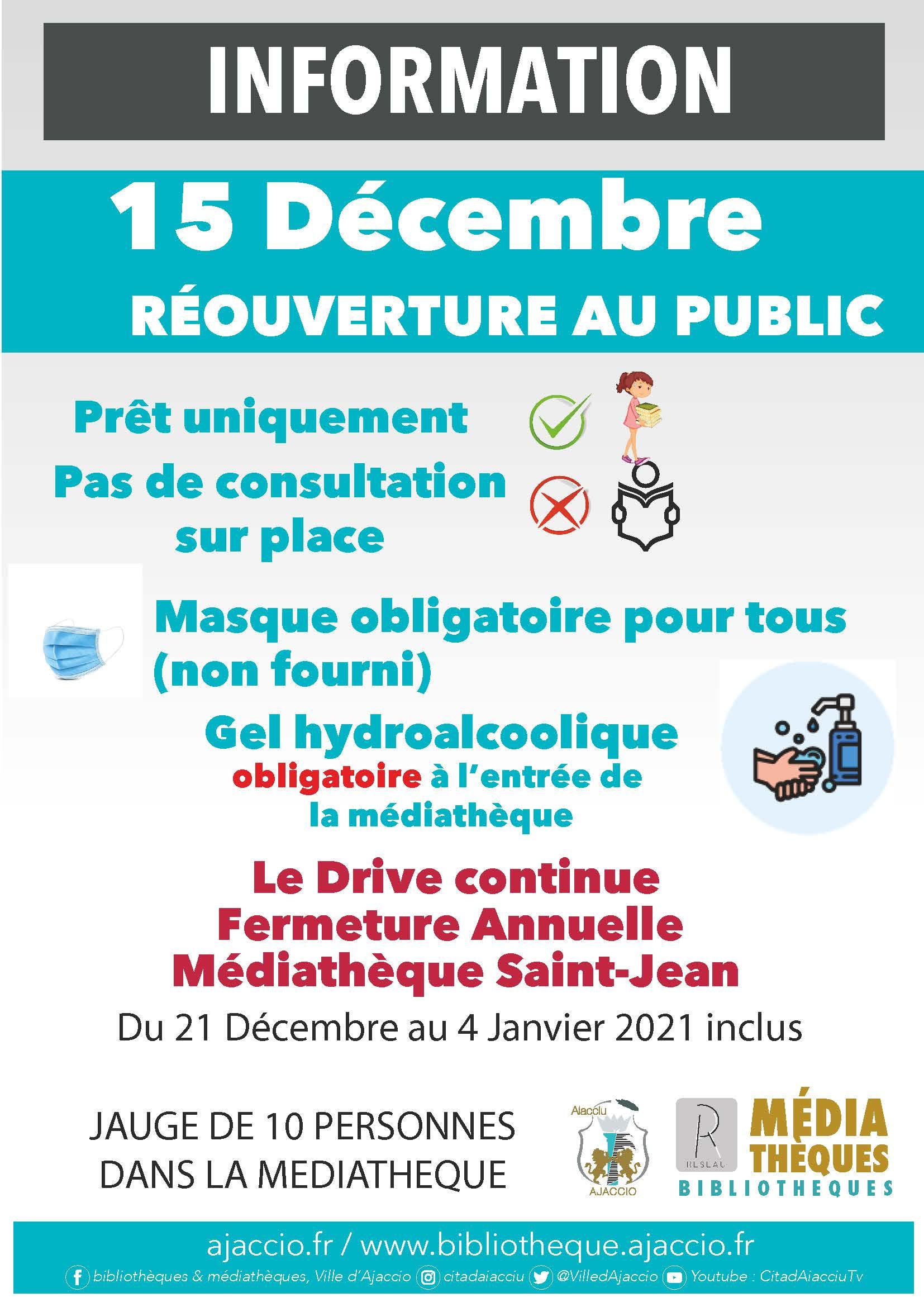 Réouverture des médiathèques de la Ville le 15 décembre 2020
