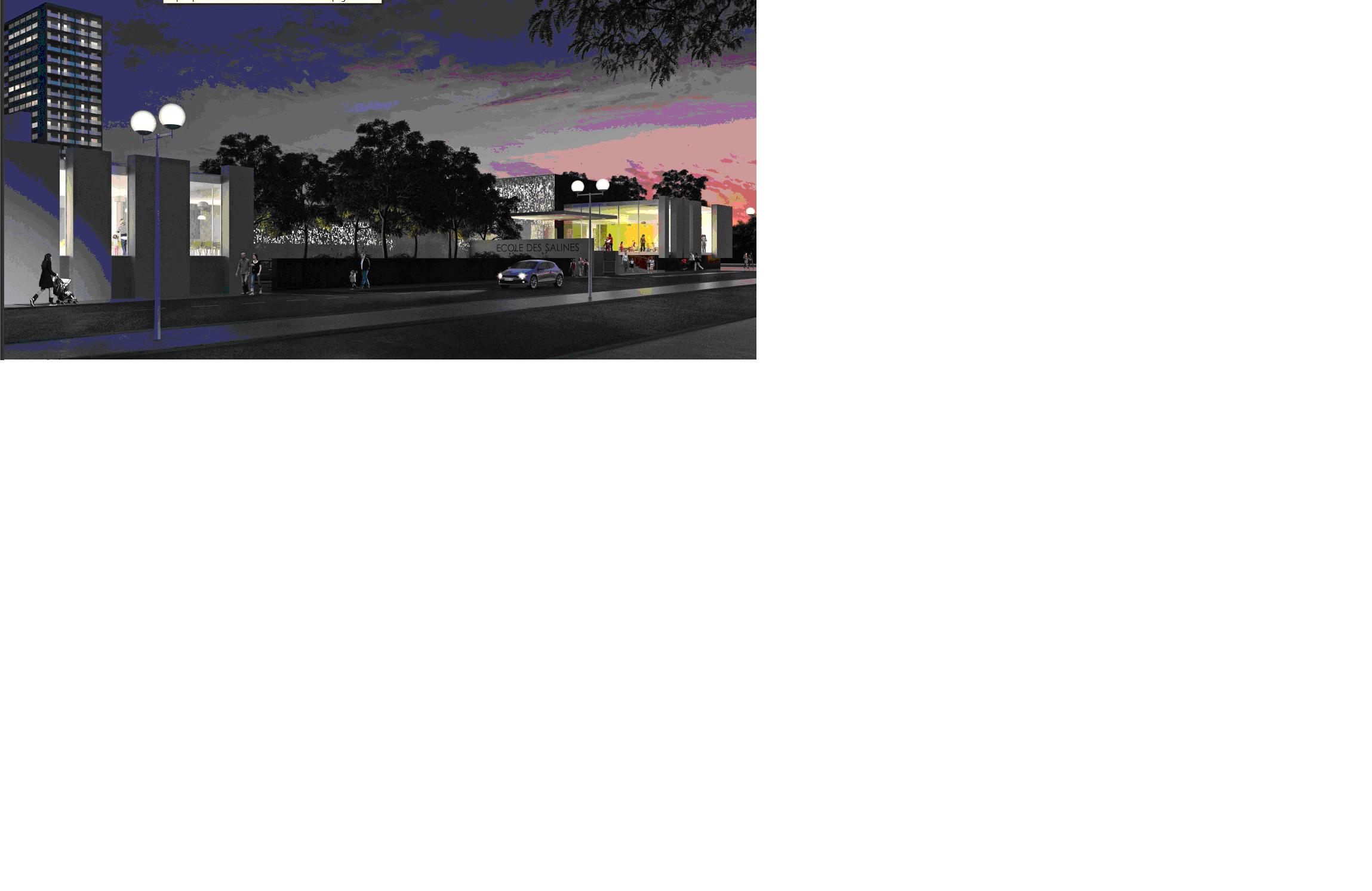 La mise en service de ce bâtiment permettra d'envisager ensuite la démolition de l'école Salines V (prévue en 2018) autorisant à son tour l'aménagement de l'espace dégagé et la mise en valeur du centre commercial des Salines (étude de valorisation en partenariat avec les copropriétaires votées lors du Conseil Municipal de septembre 2015).