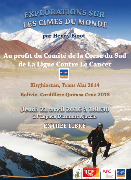 """Conférence """"Exploration sur les cimes du monde"""" par henry Bizot le jeudi 21 avril à l'Espace Diamant"""