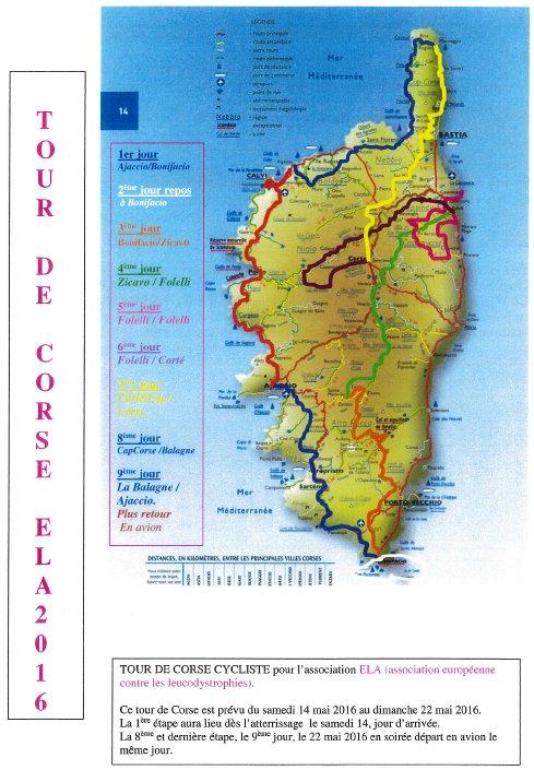 Tour de Corse cycliste ELA 2016 du 14 au 22 mai