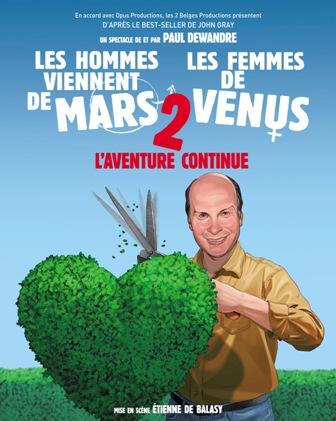 Spectacle Les Hommes viennent de Mars et les femmes de Venus 2 au Palatinu le 31 mai à 20h30