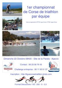 1er triathlon de la ville d'ajaccio dimanche 23 octobre à 9h00 site de la Parata