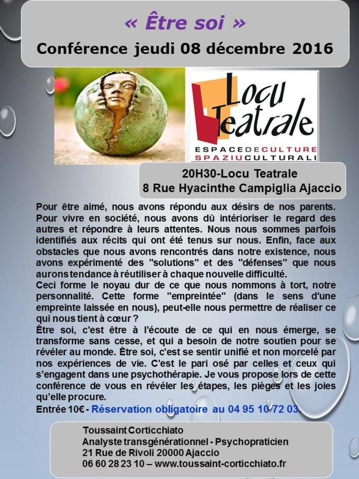 Conférence « Être soi » de Toussaint Corticchiato jeudi 8 décembre à 20h30