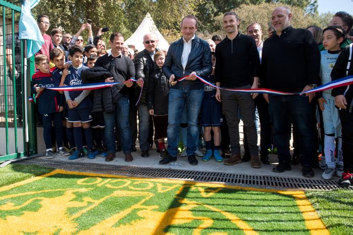 En présence d'élus de la Ville et de la collectivité de Corse le stade a été inauguré ce samedi 24 mars, ici de gauche à droite : Jean-Pierre Aresu, Laurent Marcangeli, Yannick Cahuzac, Stéphane Vannucci (Photos Ville d'Ajaccio).